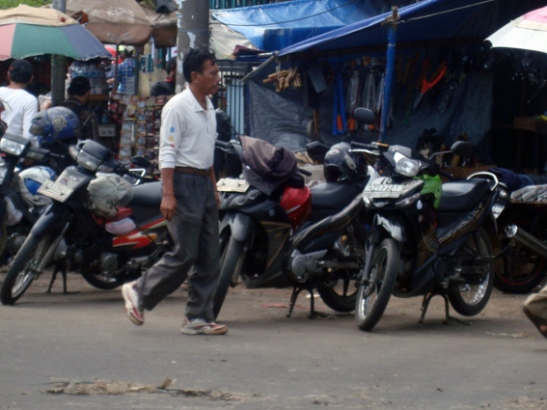 Motorcycles used as Ojek waiting for customers