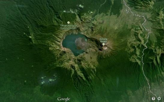 Mount Rinjani from Google Earth