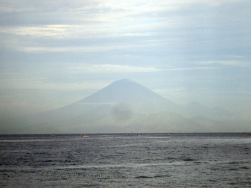 Mt Agung in Bali seen from the beach