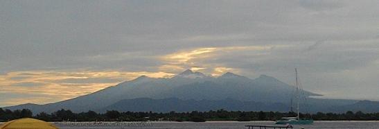 Sunrise behind Mt. Rinjani
