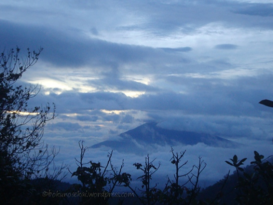 Mount Cikurai behind the cloud