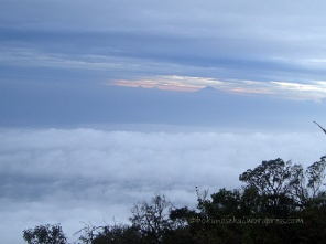 A sea of cloud and Triple S from afar